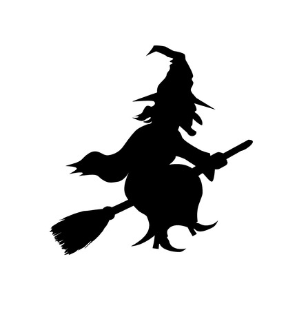 broomstick: Witch Flying on Broomstick Template Illustration