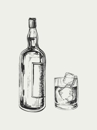 Schets Whiskey fles en glas. Hand Getrokken Drink Vector Illustration Stock Illustratie