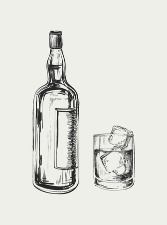 scotch: Sketch Whiskey Bottle and Glass. Hand Drawn Drink Vector Illustration