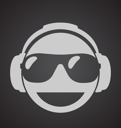 icon men dj in headphone and shutter shades sunglasses. vector print illustration Illustration