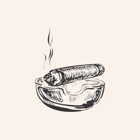 havana cigar: Smoking Cigar With Ashtray Illustration