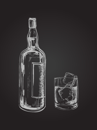 bourbon: Sketch Whiskey Bottle and Glass. Hand Drawn Drink Vector Illustration