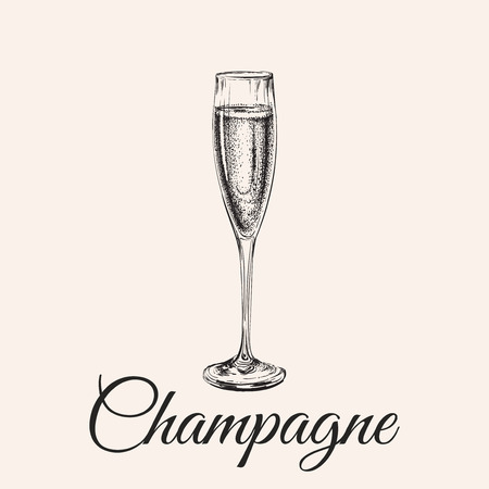 Champagne Glass Hand Drawing  Illustration Bubbles. Alcoholic Drink.