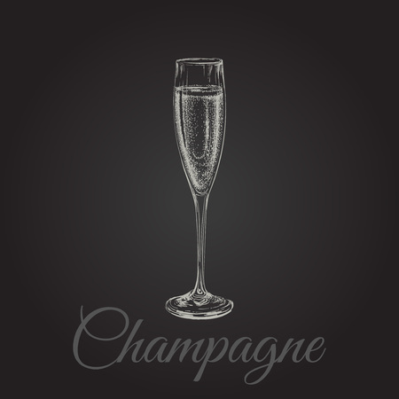 champaign: Champagne Glass Hand Drawing Vector Illustration Bubbles. Alcoholic Drink. Illustration