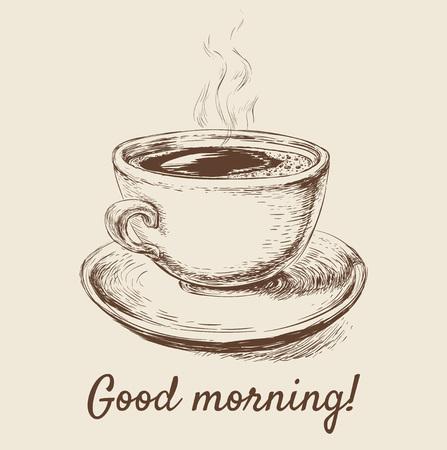 Mano dibujado bosquejo taza de café ilustración vectorial mano dibujado bosquejo taza de café ilustración vectorial
