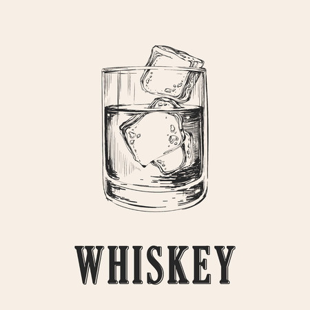 Verre à whisky. Boisson Hand Drawn Vector Illustration. Banque d'images - 69006419