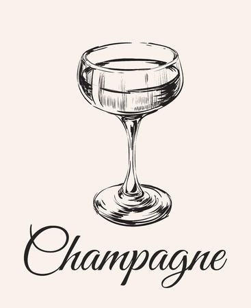 シャンパン グラス手図面のベクトル図です。アルコール飲料。