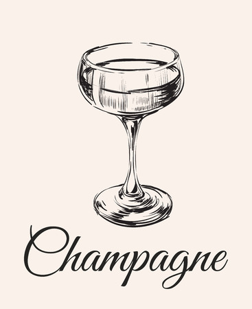 Champagne Glass Hand Drawing Vector Illustration . Alcoholic Drink. Illustration