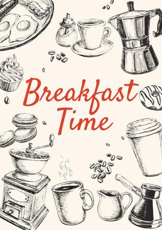 letrero: Breakfast Hand Drawn Set illustration