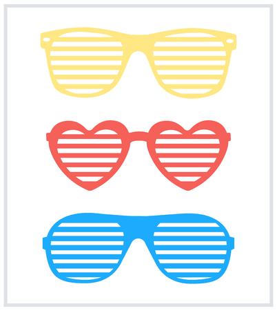 Set di vettore di sfondo di occhiali da sole tende da barba