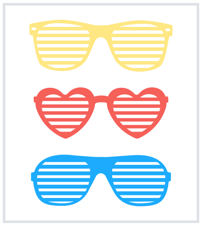 aviators: Set of shutter-shades sunglasses background vector