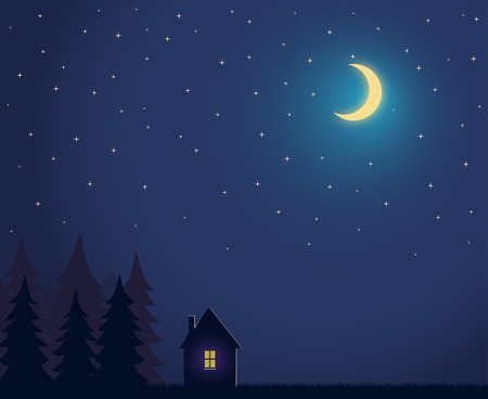 backwoods: House and tree and night sky with stars and moon