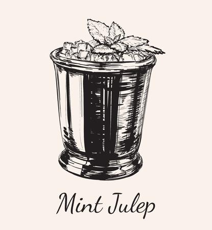 Cocktail Mint Julep für die Derby Hand Zeichnung Vektor Illustration
