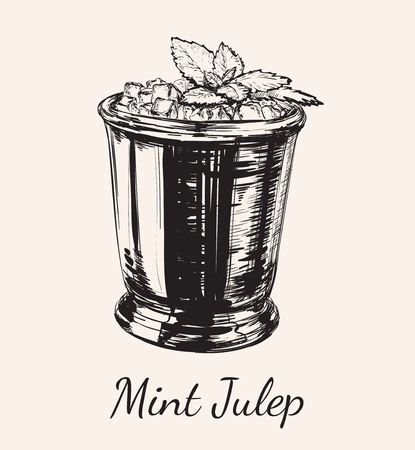 Cocktail Mint Julep for the Derby Hand Drawing Vector Illustration 免版税图像 - 74903590