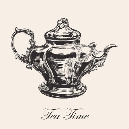 Hand Drawn Sketch Teapot Vector illustration. Иллюстрация