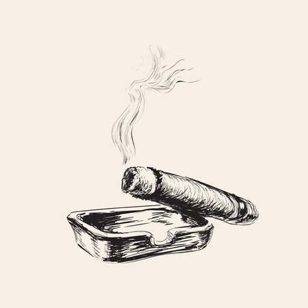 Modern Smoking Cigar With Ashtray
