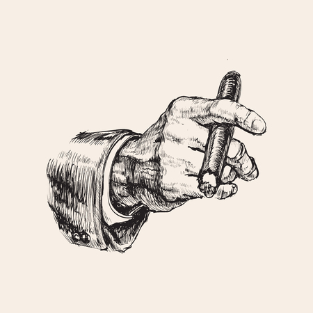 Hand with cigar hand drawn vector illustration.