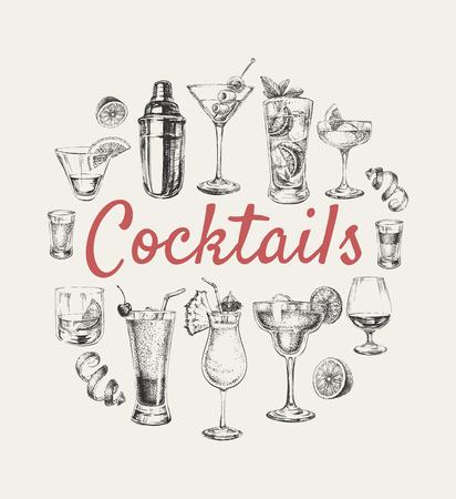 스케치 칵테일 및 알코올 음료 벡터 손으로 그려진 된 그림 스케치 칵테일 및 알코올 음료 벡터 손으로 그린 그림