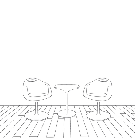 sketch of modern interior table and chairs. vector illustration Stock Illustratie