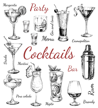 Set of sketch cocktails and alcohol drinks hand drawn illustration Set of sketch cocktails and alcohol drinks hand drawn illustration