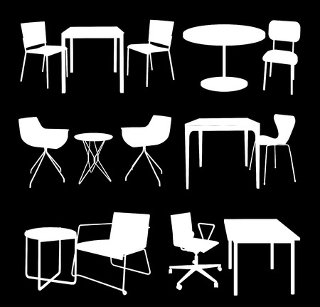 Set of Furniture. Tables and Chairs. Vector silhouette.