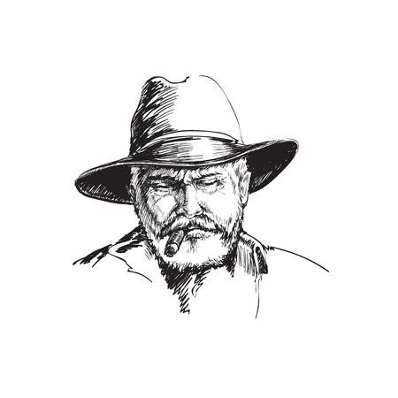 Portrait Cowboy, farmer. rancher . Hand drawn sketch  illustration