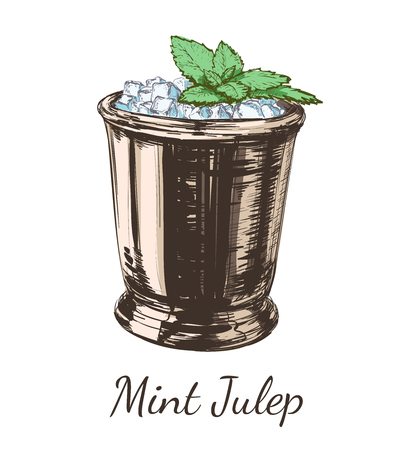 Mint cocktail julep for the derby hand drawing vector illustration alcoholic drink.