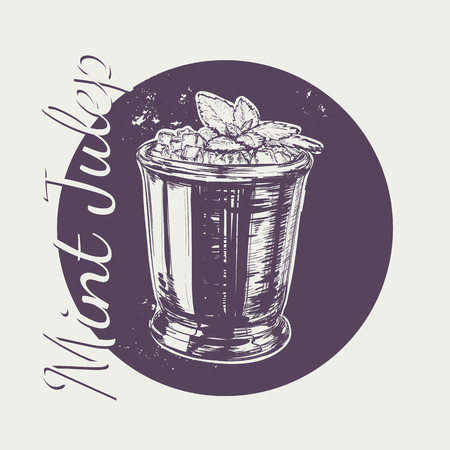 Cocktail Mint Julep for the Derby Hand Drawing Vector Illustration Alcoholic Drink