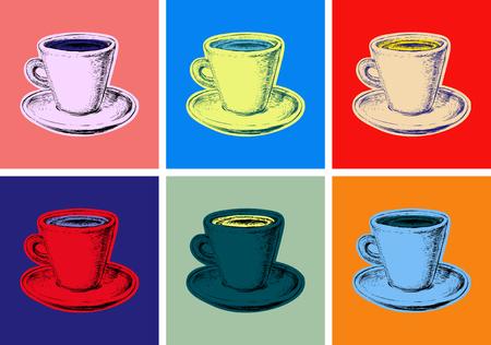 Set coffee mug vector illustration pop art style. Ilustração
