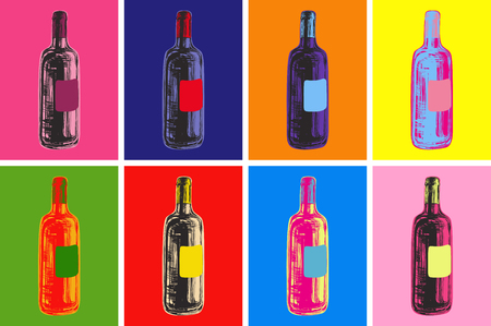 Wine Bottles Hand Drawing Vector Illustration Alcoholic Drink. Pop Art Style. 矢量图像