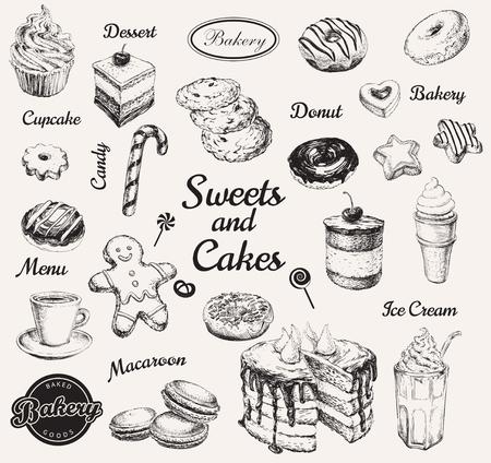 Insieme disegnato a mano dolci dessert caffè illustrazione vettoriale Vettoriali
