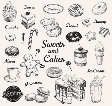 Ręcznie rysowane zestaw słodyczy deser kawy ilustracji wektorowych Ilustracje wektorowe