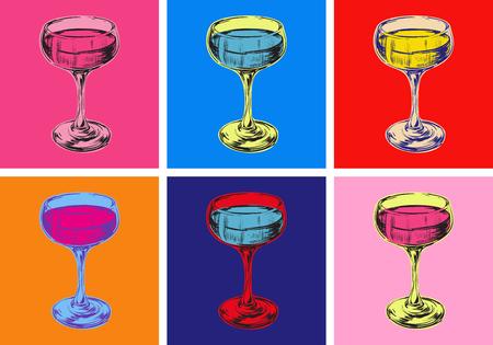 Copa de champán dibujo a mano ilustración vectorial bebida alcohólica. Estilo Pop Art. Ilustración de vector