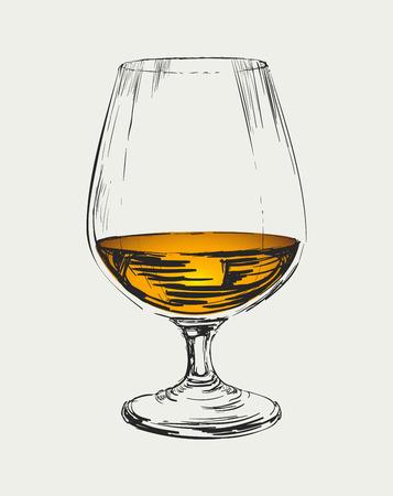 Glass of Brandy Drawing Illustration Ilustrace