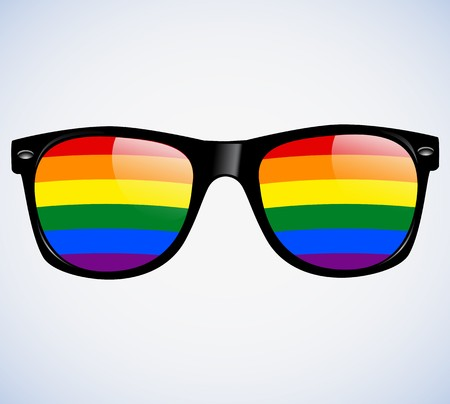 Sunglasses Abstract Rainbow lenses Illustration Background. LGBT