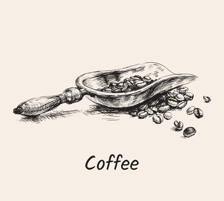 Hand Drawn Sketch Coffee Scoop With Pile Of Beans Vector Illustration