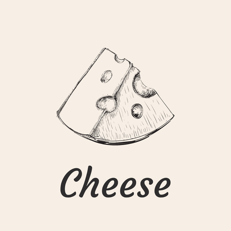 Piece of Cheese Hand Drawn Illustration