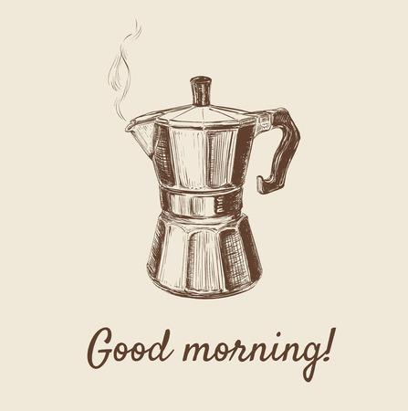 Hand Drawn Sketch Coffee Maker Illustration