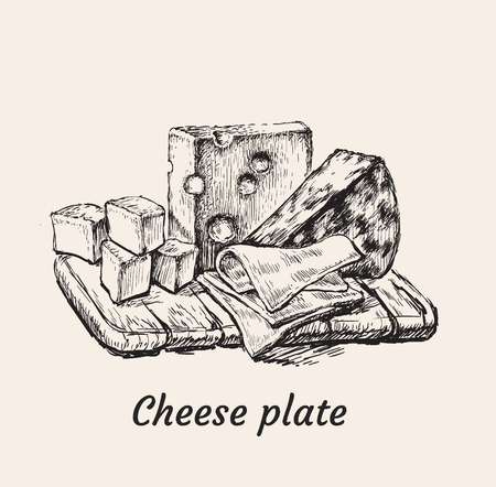 Cheese Plate Hand Drawing Vector Illustration.  イラスト・ベクター素材