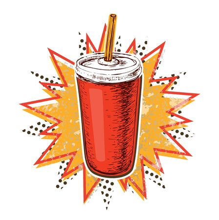 Cola Cup Vector Illustration Pop Art Style