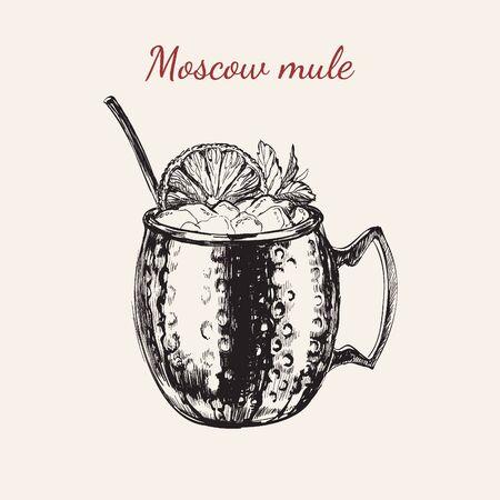 Illustration vectorielle de boisson dessinée à la main de mule de Moscou Vecteurs