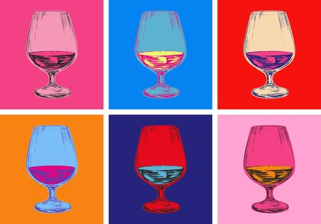 Champagne Glass Hand Drawing Vector Illustration. Alcoholic Drink. Pop art style.