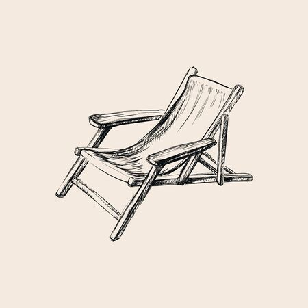 Wooden Collapsible Chaise Lounge for Rest. Hand Drawn Sketch Vector illustration