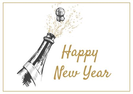 Happy New Year Hand drawn Illustration of Champagne explosion. 矢量图像