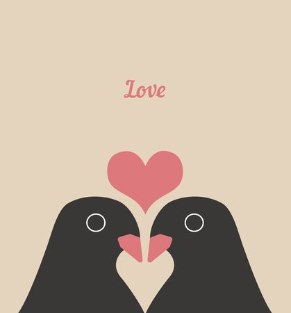 Couple Cute Birds with Heart Love Cartoons Vector Illustration 矢量图像
