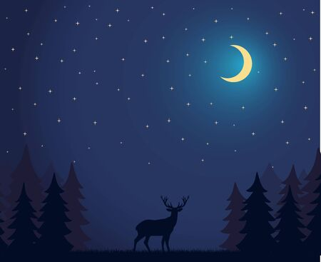 Deer Walks in the Night Forest Vector Illustration