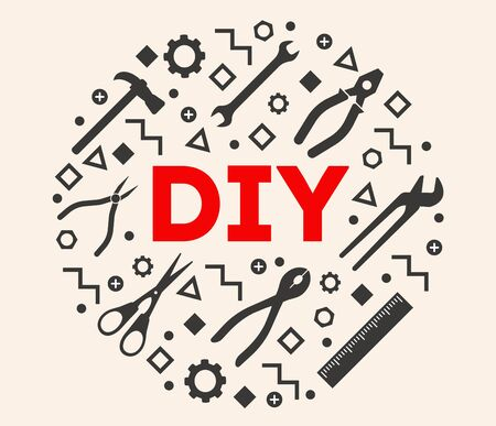 DIY Template. Do it yourself. Home Repair Tools Concept illustration. Hand Made.