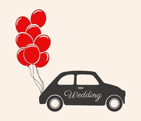 Wedding Car Decorations With Balloons 矢量图像