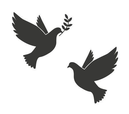 Black Silhouette of Flying Dove with Olive Twig Vector Icon Template 矢量图像
