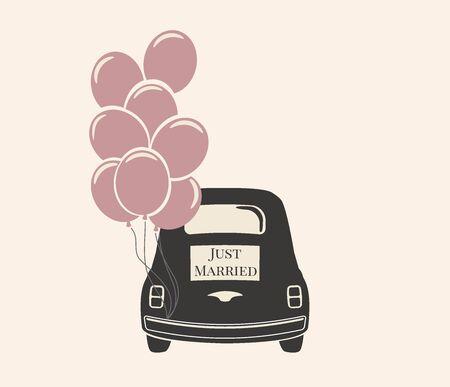 Wedding Car Decorations With Balloons Vector Icon Template Ilustración de vector